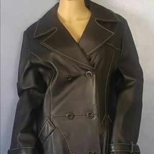 Vintage Black Leather Coat